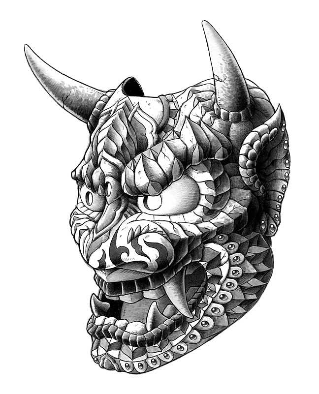 Japanese Demon Mask v1 (Original Artwork)
