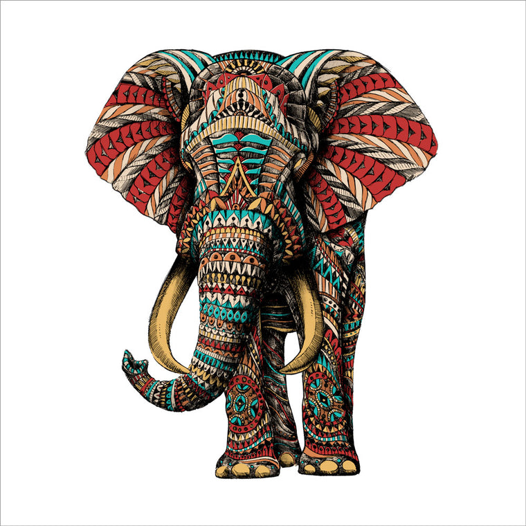 Ornate Elephant (Color + Hand Embellished)