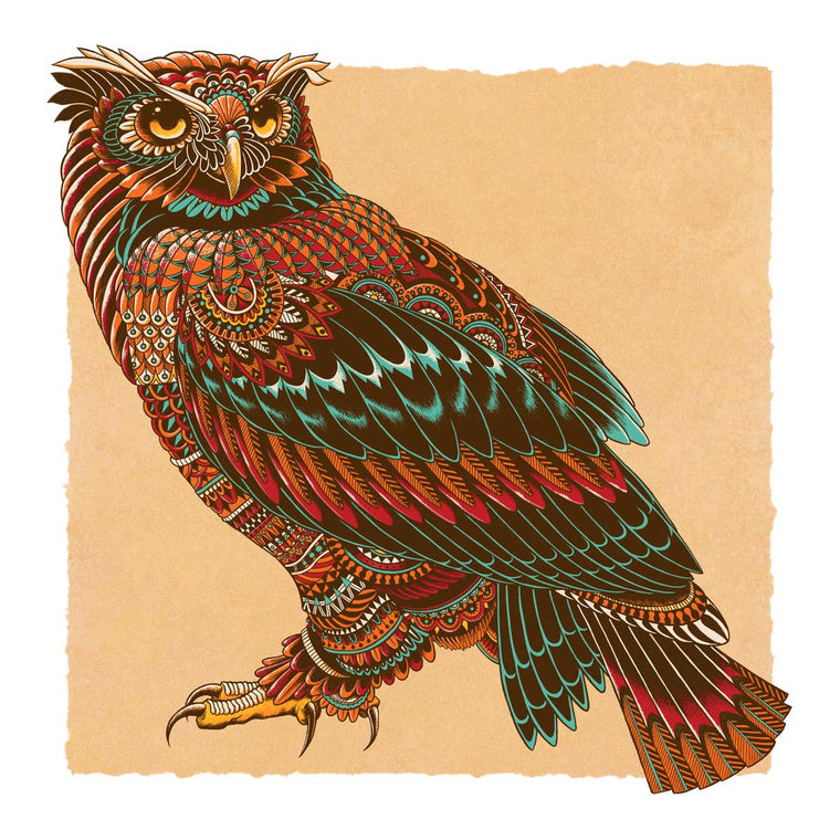 Ornate Owl Art Print Red Variant (Edition of 13)