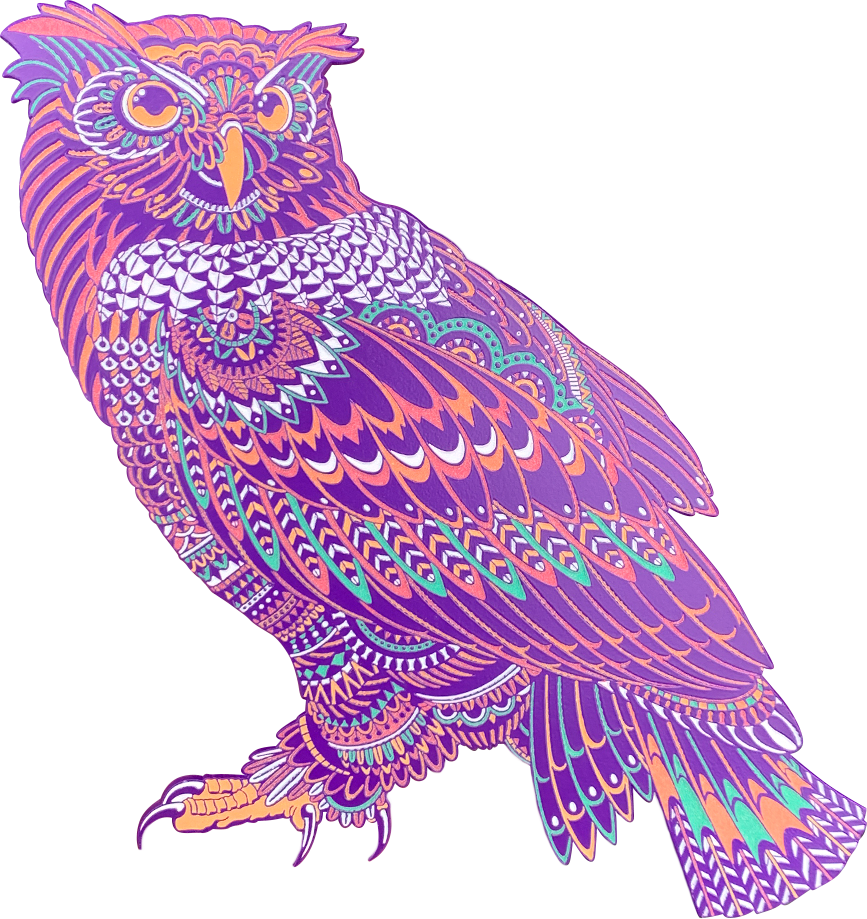 Ornate Sakura Owl Pin (Edition of 50)