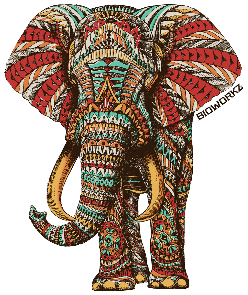 Ornate Elephant Sticker