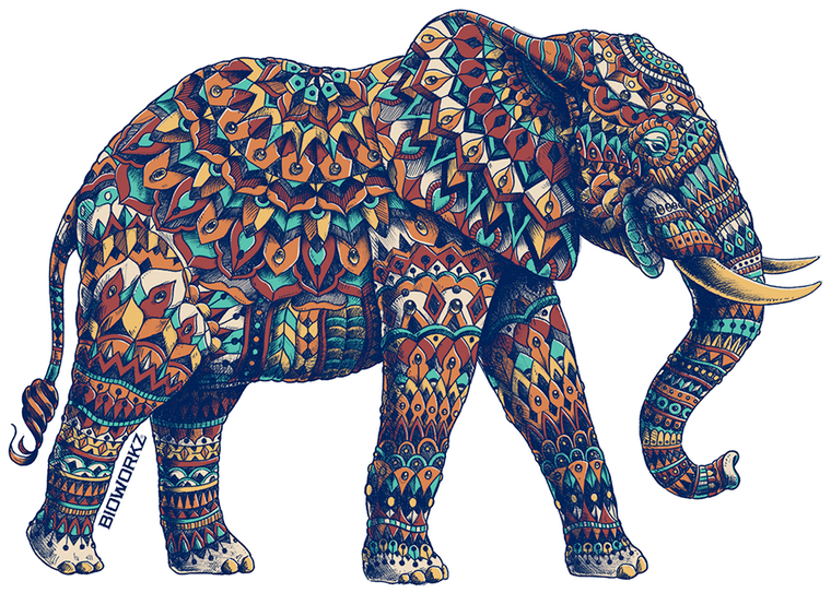 Ornate Elephant 3.0 Sticker