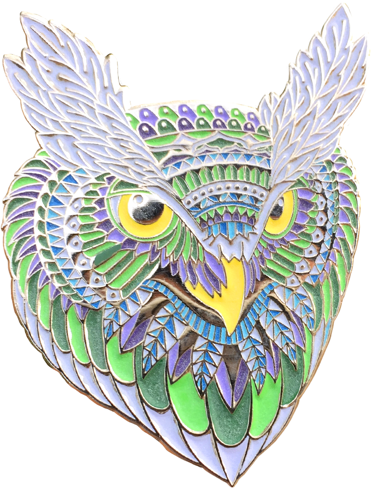 Mint Owl Head Pin