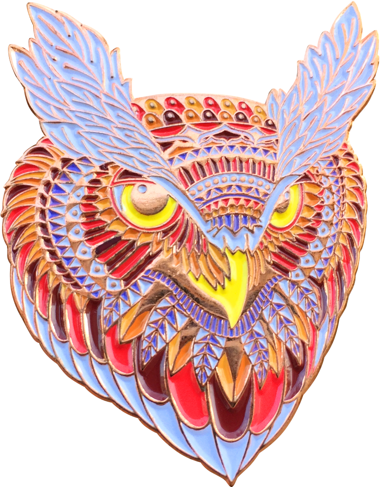 Fiery Owl Head Pin