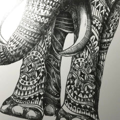 Ornate Elephant Silkscreen Print (12x16 inches)