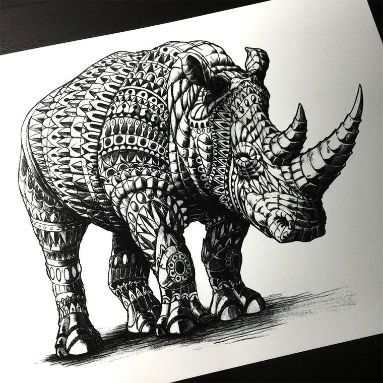 Rhinoceros Silkscreen Print (10x8 inches)