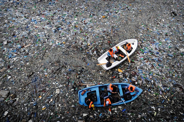 ocean sifting through tons of plastic trash that affect local marine life