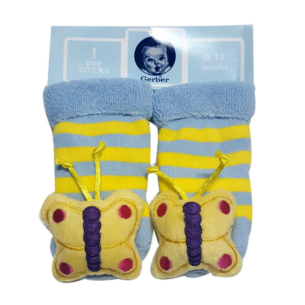 "Animal ""Rattle"" Socks - Yellow Butterfly Special Offer"