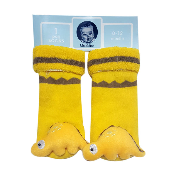 "Animal ""Rattle"" Socks - Yellow Dinosaur Special Offer"