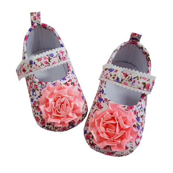 Lauren (Pre-Walker Baby Shoes) - Floral Pink Special Offer