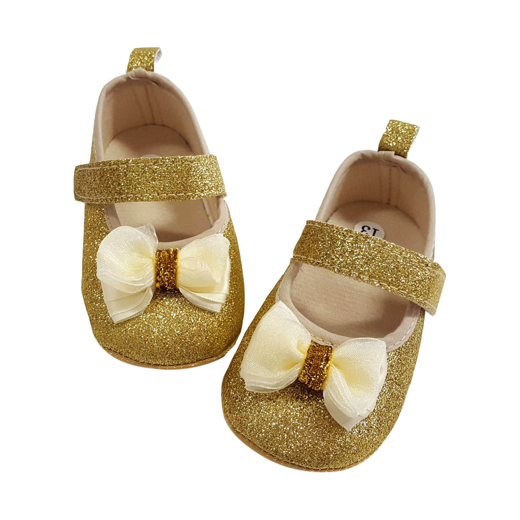 Isabella (Pre-Walker Baby Shoes) - B104 Gold Glitter