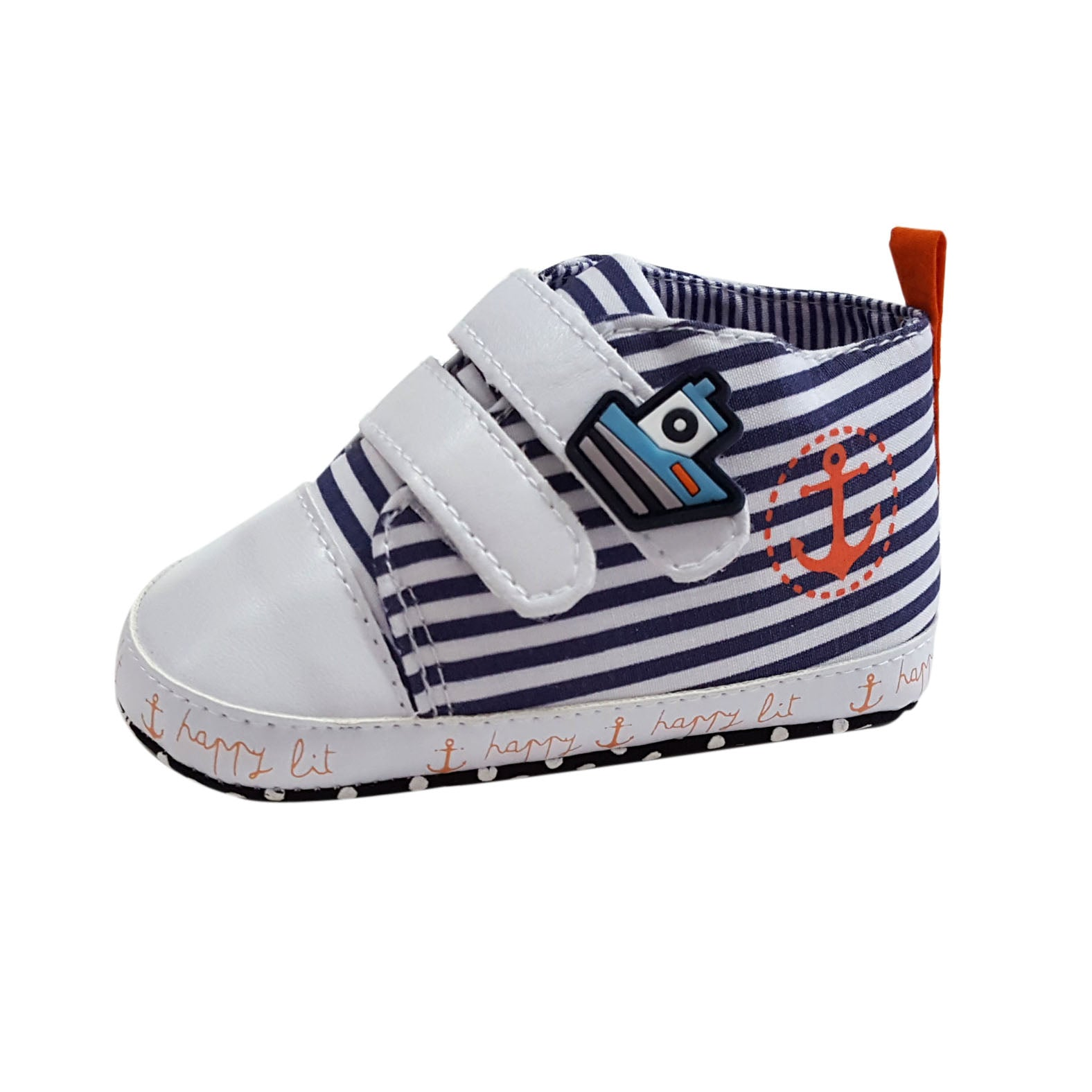 Hudson (Pre-Walker Baby Shoes) - White/Navy Special Offer