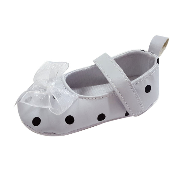 Melody (Pre-Walker Baby Shoes) - B109 White Polka