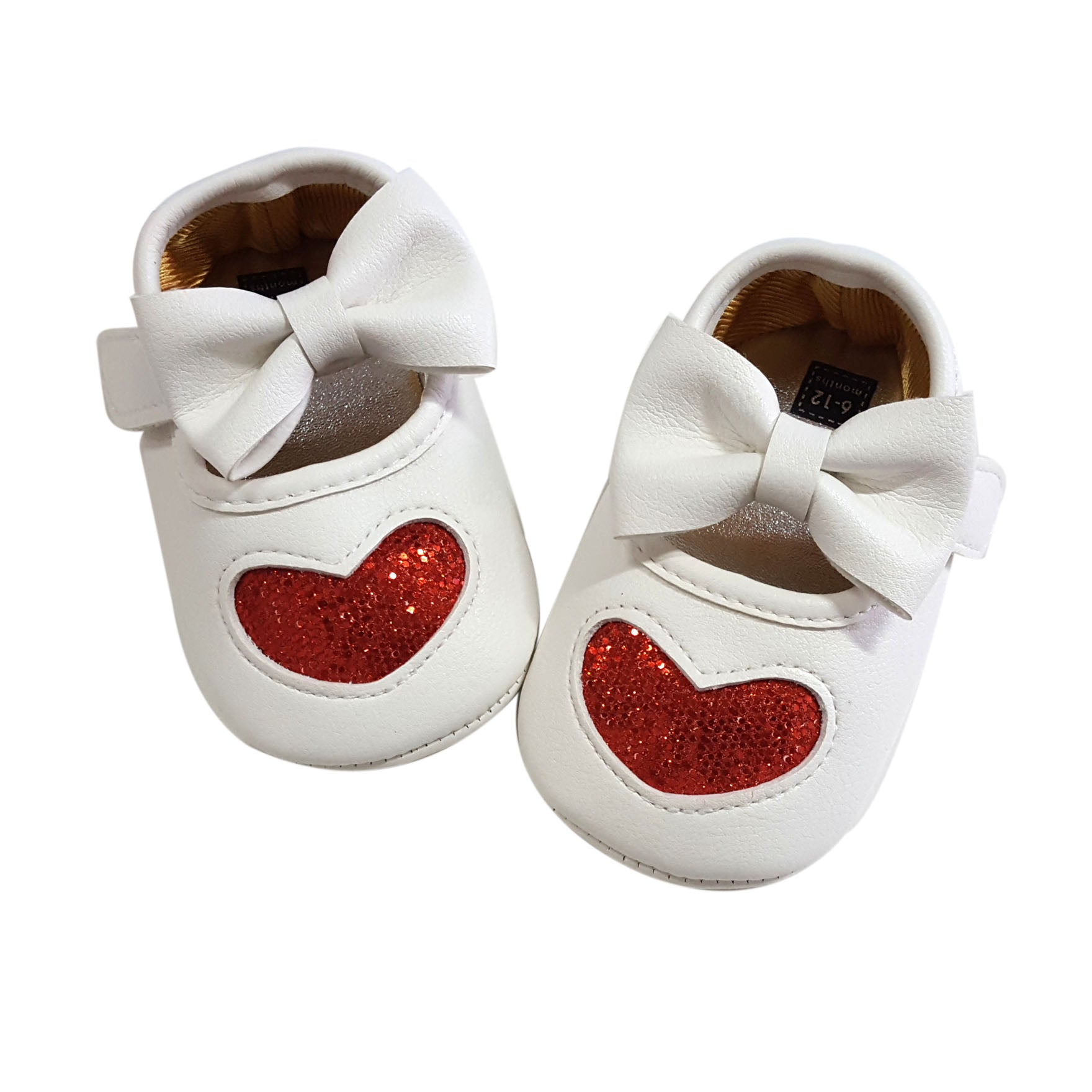 Claire (Pre-Walker Baby Shoes) - White/Red Special Offer