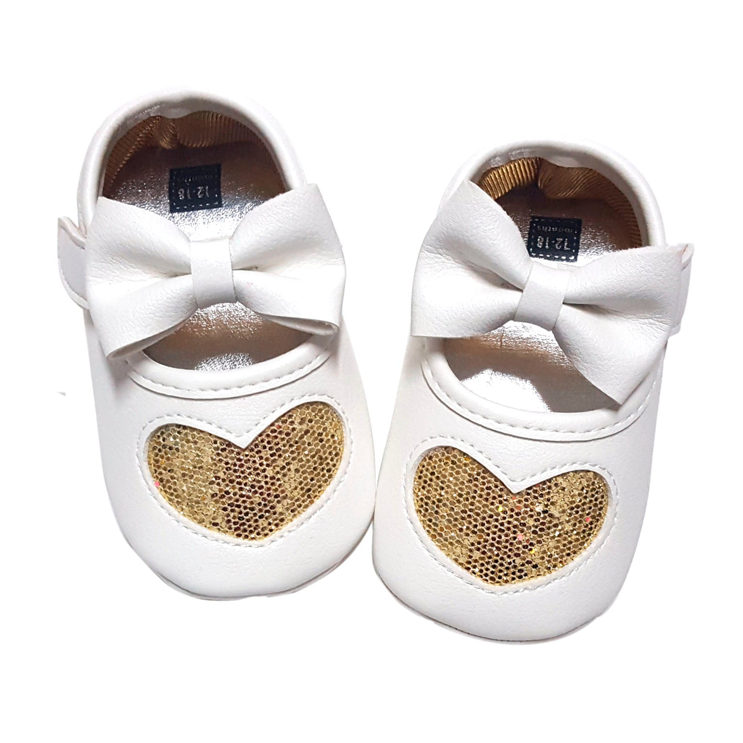 Claire (Pre-Walker Baby Shoes) - B130 White/Gold