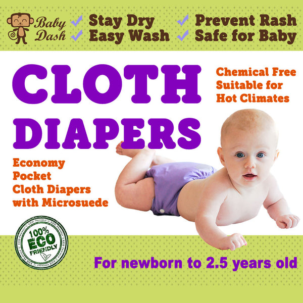 Baby Dash Economy Pocket Cloth Diapers (1pc) - Microsuede