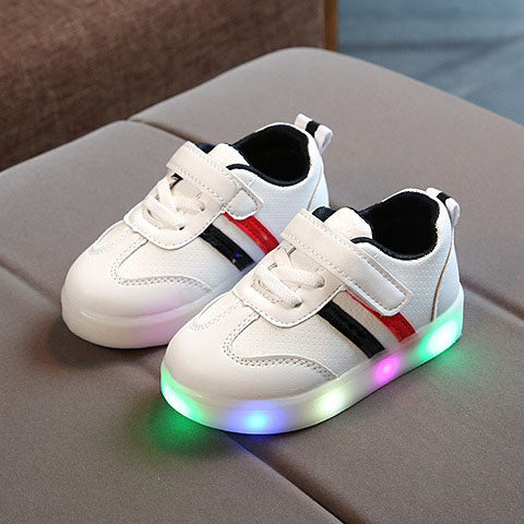 L207 Weiss Black LED Lighted Shoes (1-3y)