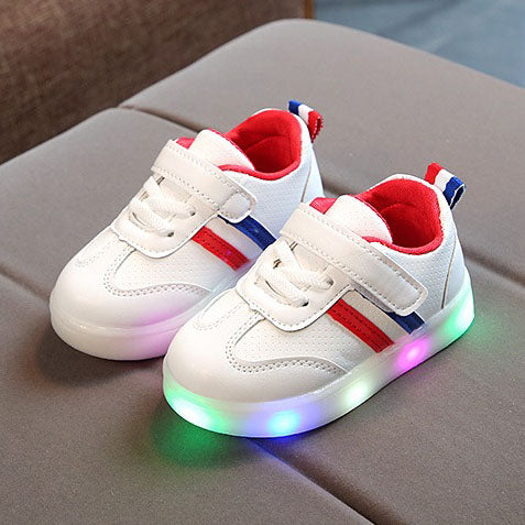 L207 Weiss Red LED Lighted Shoes (1-3y)