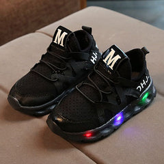 L215 Yugito Black LED Lighted Shoes (1-6y)