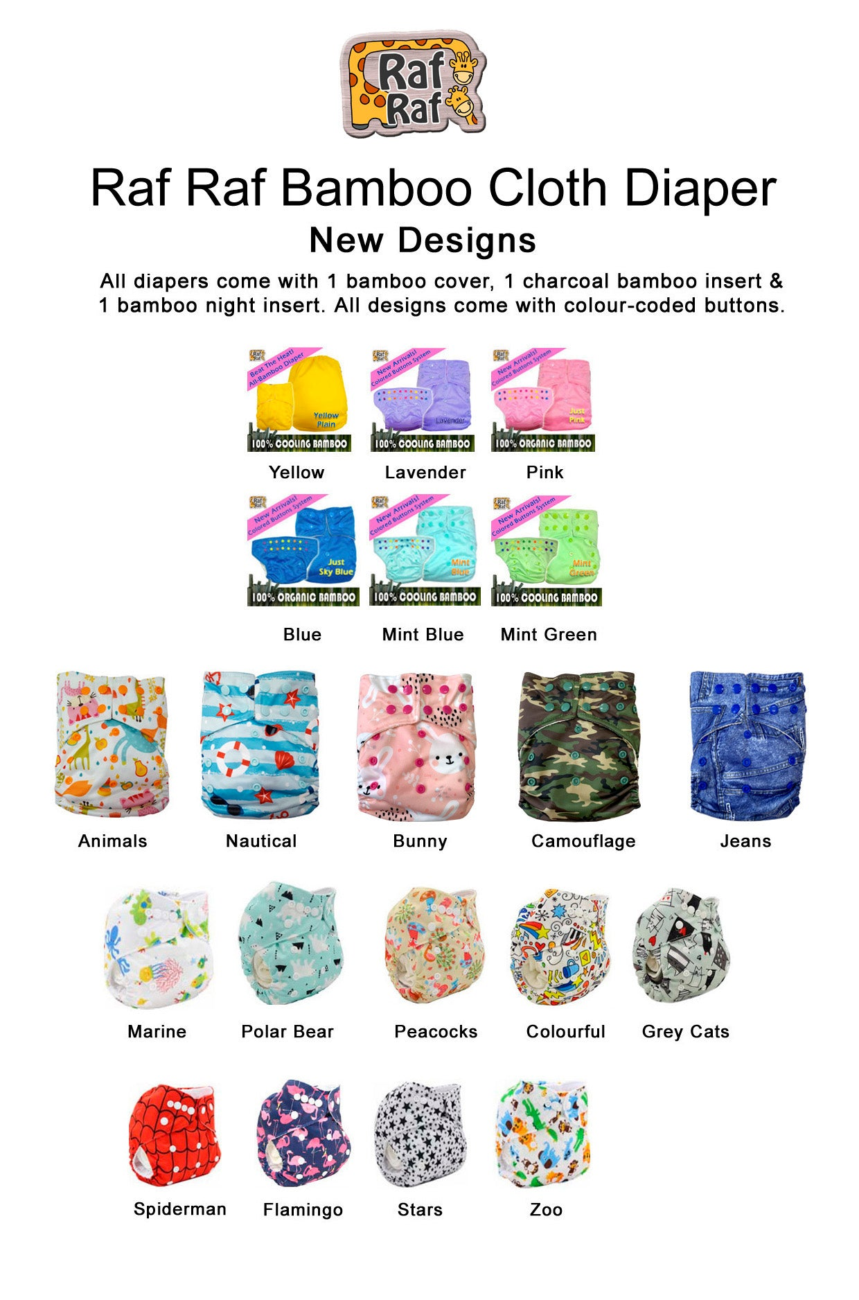 6pc Starter Pack Bamboo Cloth Diapers