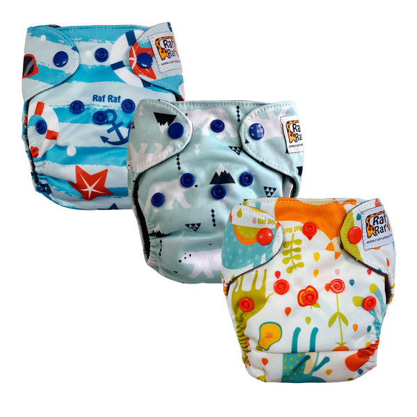 3pc Newborn Charcoal Bamboo Cloth Diaper