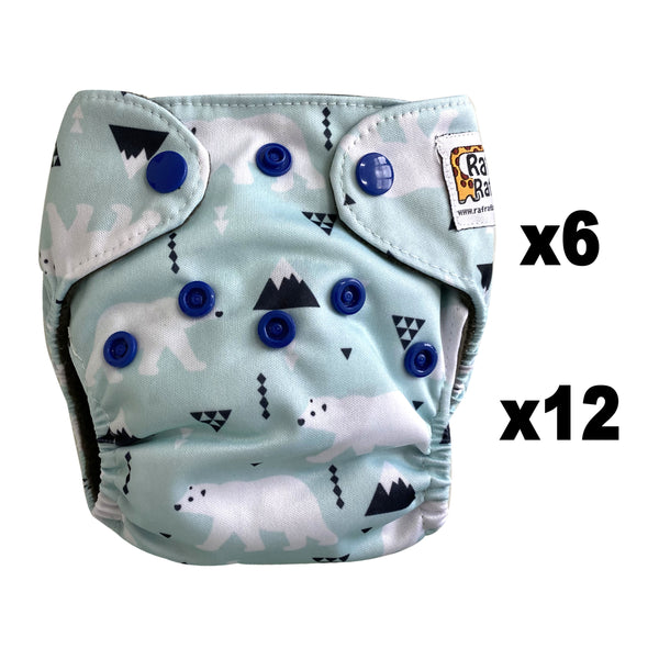 6/12pc Newborn Charcoal Bamboo Cloth Diaper