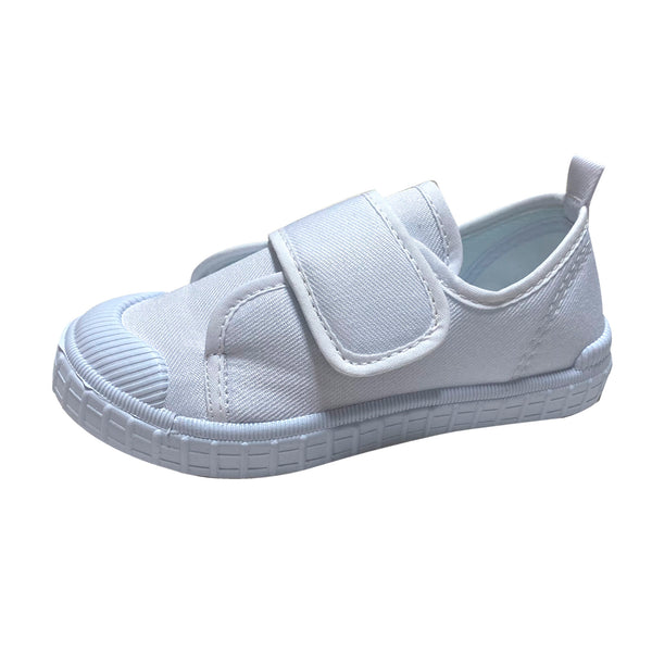 S185 Simple White School Shoes