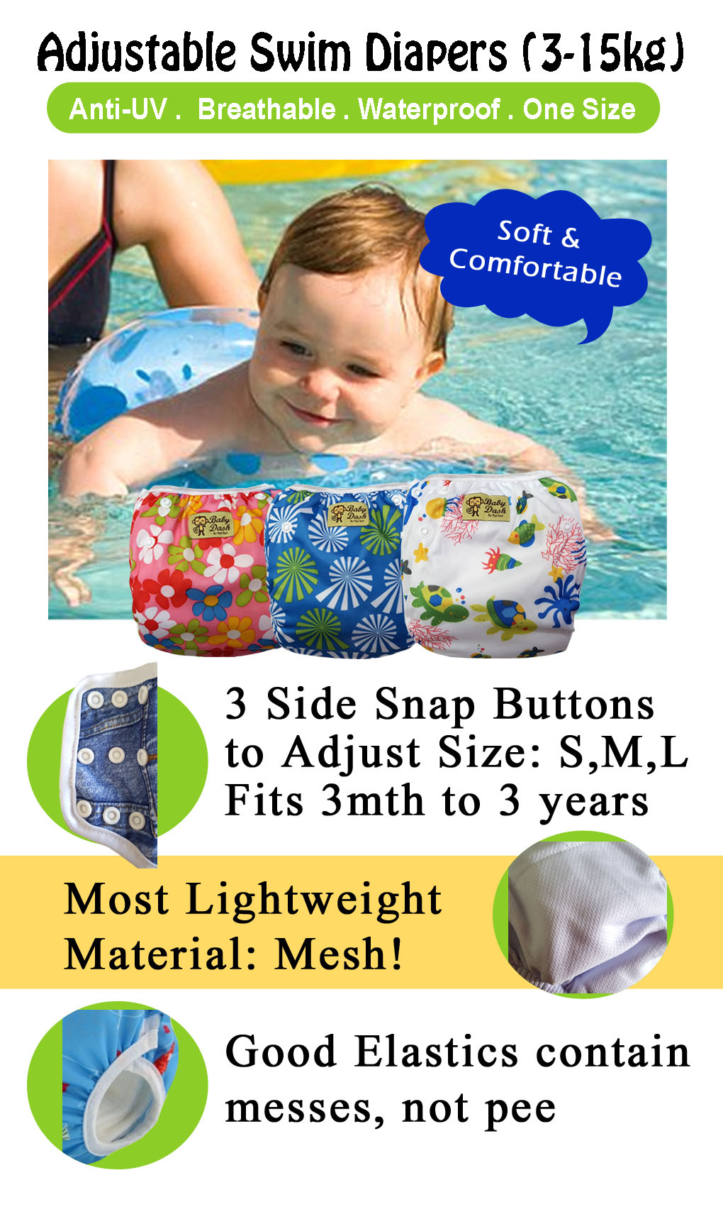 Adjustable Swim Diaper Cum Waterproof Diaper Cover - Black Stars