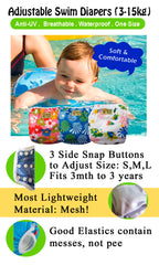 Adjustable Swim Diaper Cum Waterproof Diaper Cover - Grey Cats
