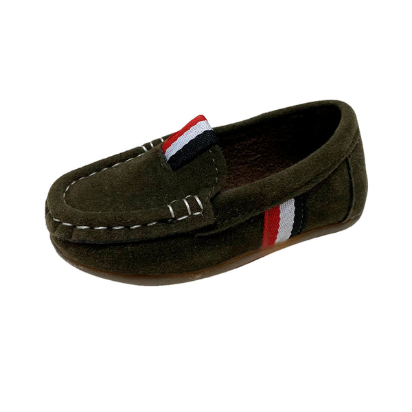S168 Moccasin Softee Suede-Olive (EU21-25)