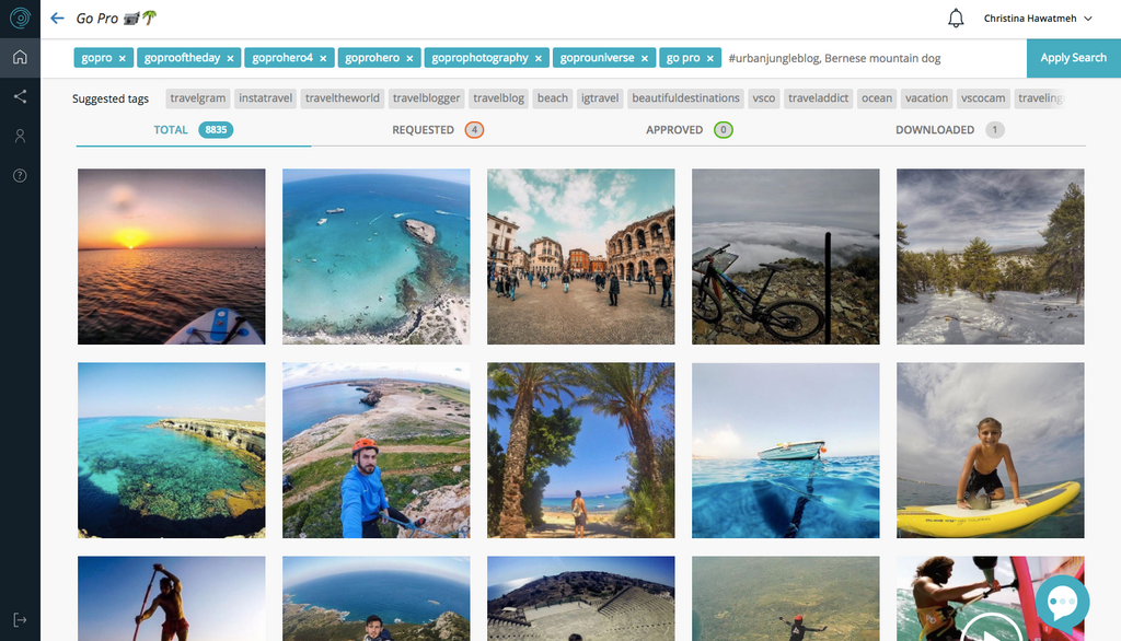 A search on Scopio's dashboard that features the best GoPro hashtags