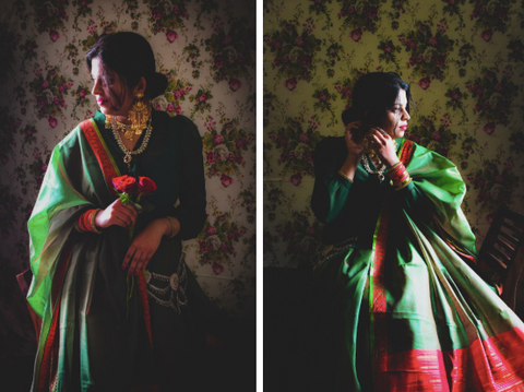photos of a woman in india old world style
