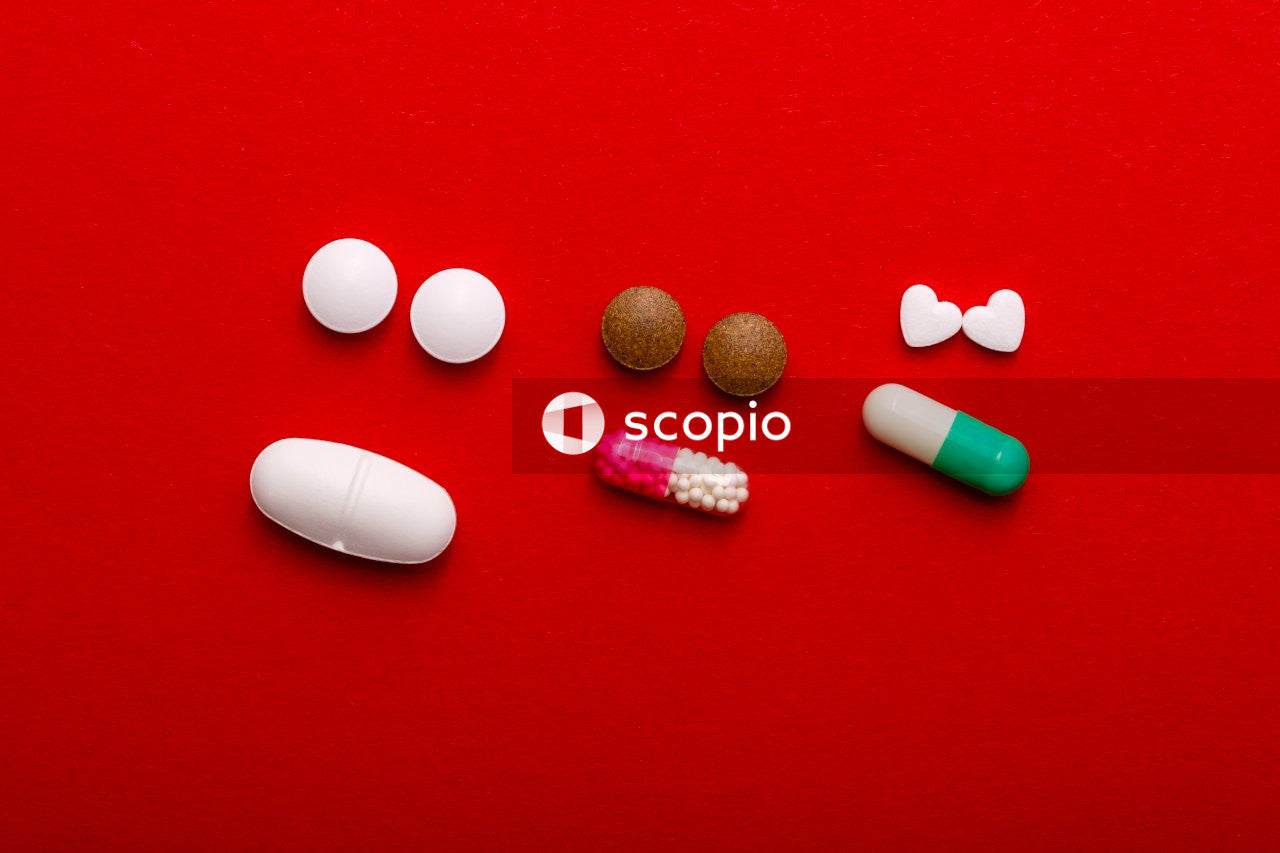 Assorted-color medication tablets
