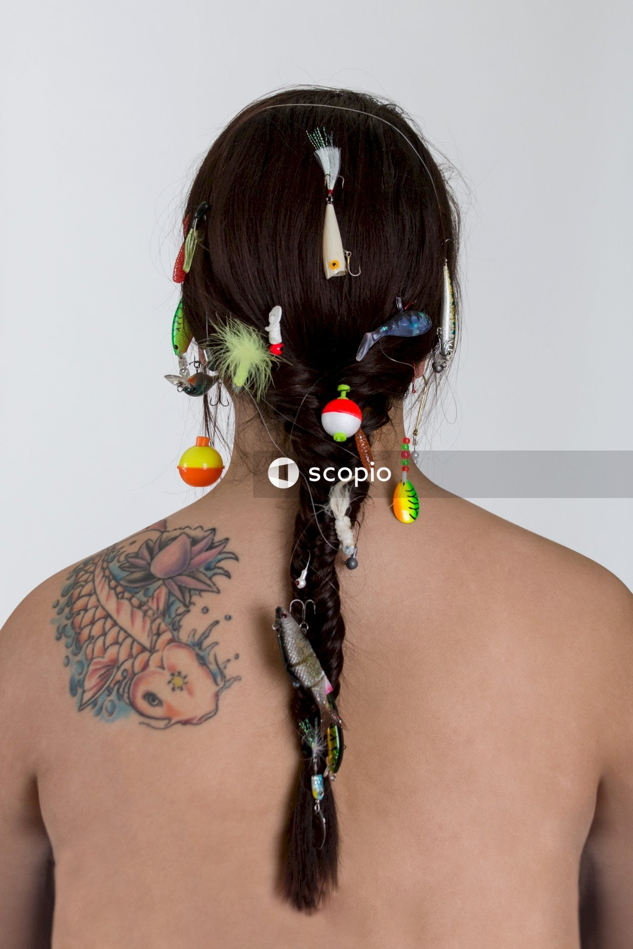Women wearing hair accessory lot close-up