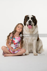 Girl in pink and white floral dress sitting beside white and black dog