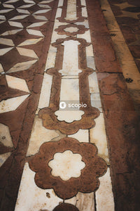Brown and white floor tiles