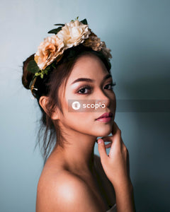 Portrait photography of woman wearing floral crown