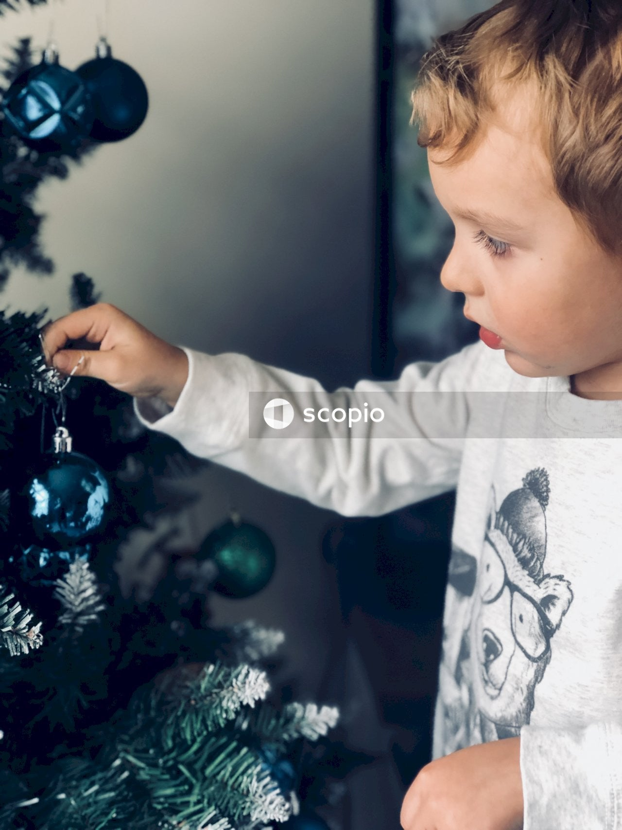 Boy touching blue christmas bauble