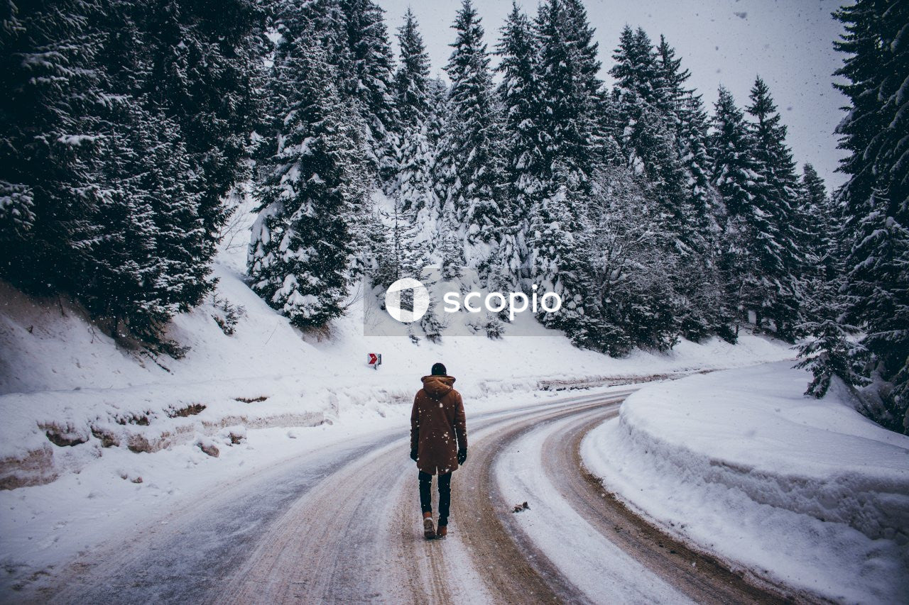 Person in brown coat walking on snow covered road