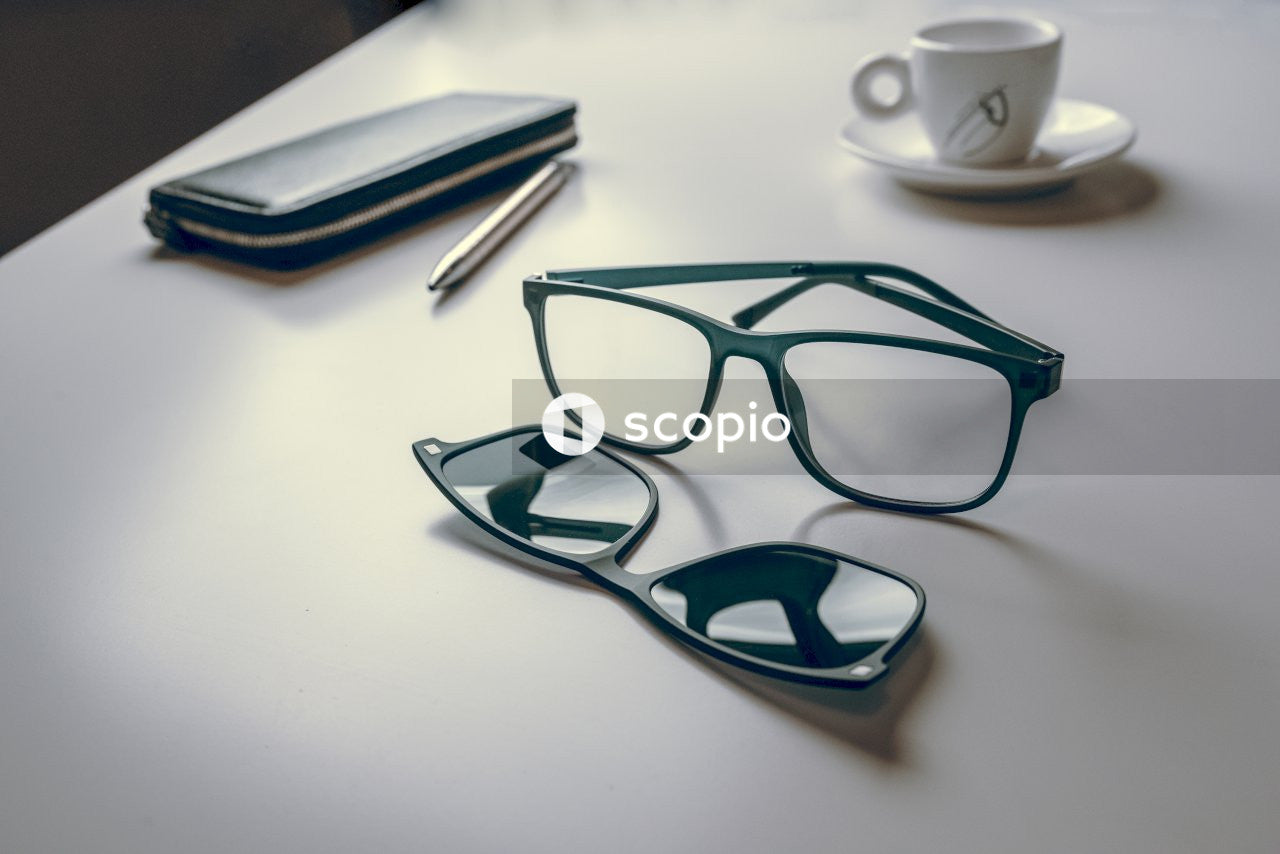 Eyeglasses with a clip-on