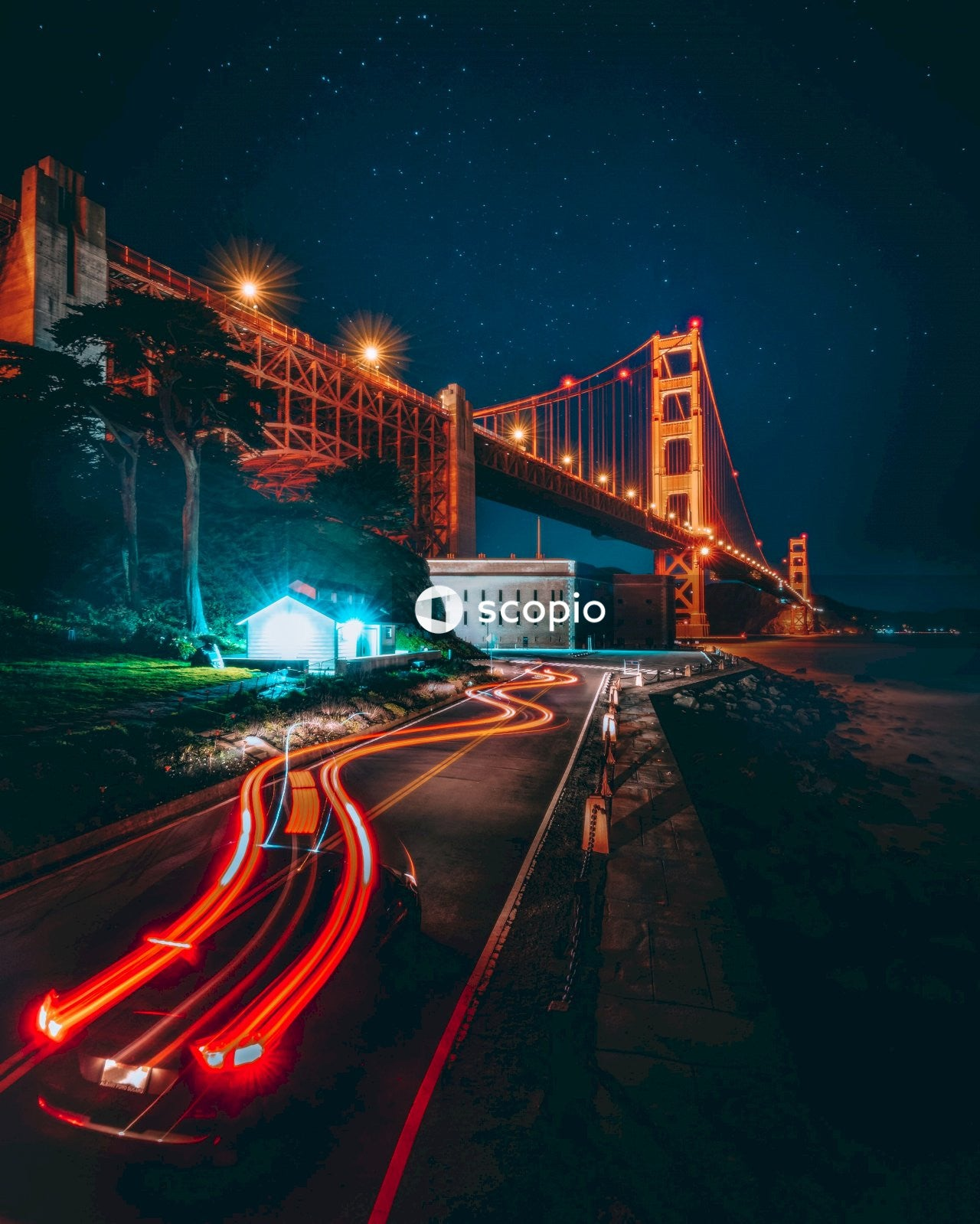 Time lapse photography of cars on bridge during night time