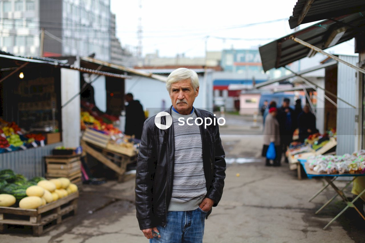 Man stands near store