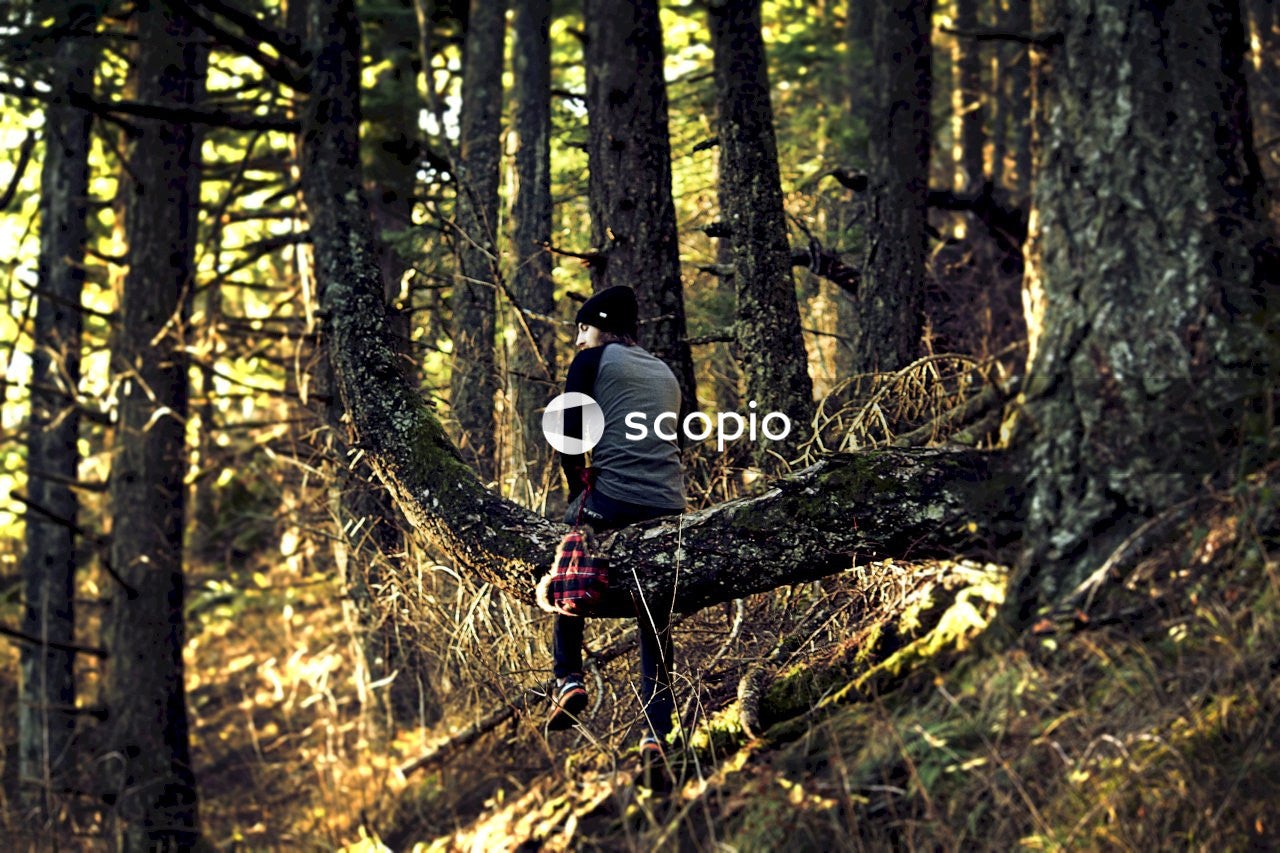 Man in black t-shirt and black pants standing on tree log in forest