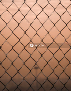 Black metal chain link fence