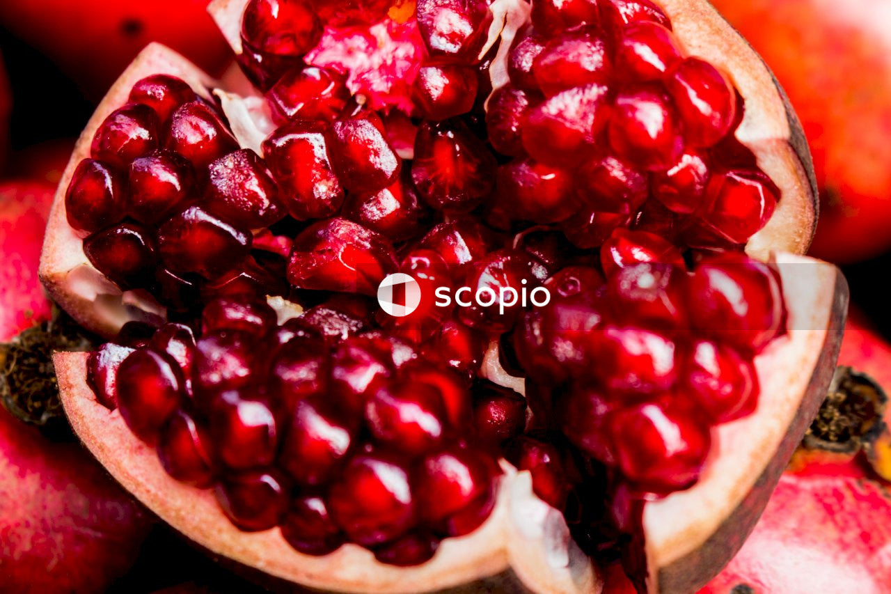 Red fruit on brown wooden table
