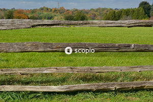 Brown wooden fence on green grass field