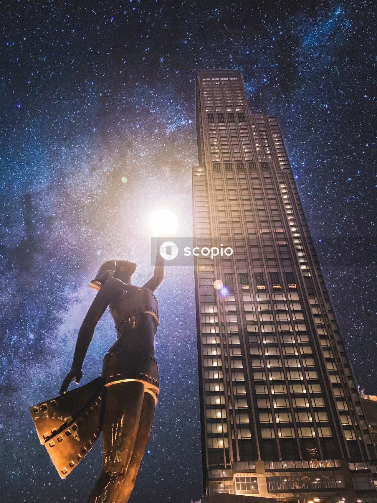 Man in black jacket standing on building during night time