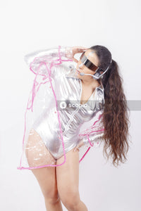 Studio portrait of woman wearing futuristic clothing