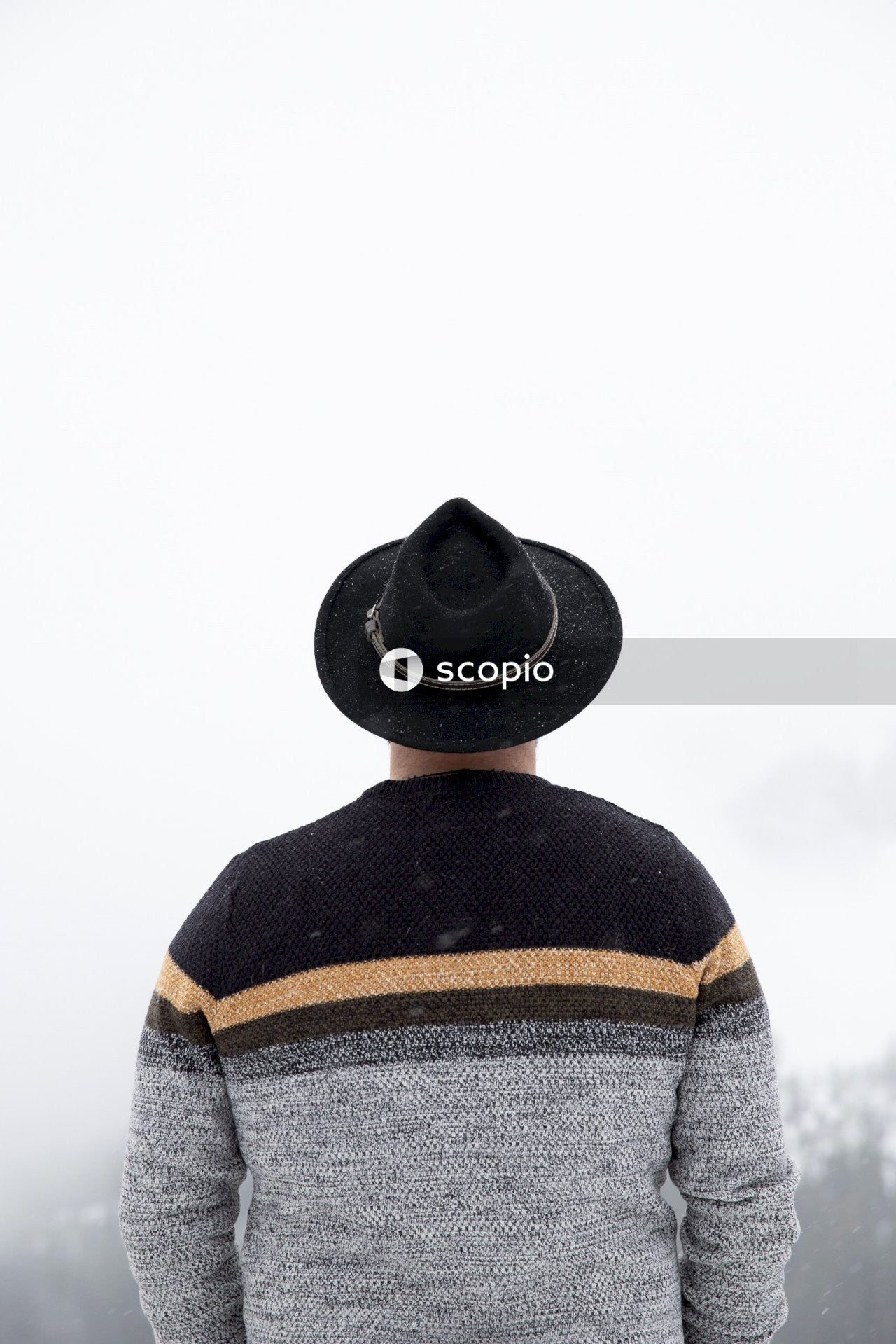Person in black fedora hat