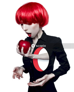Illustration of red head woman with a hand pulling an apple from her heart